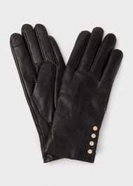 Sienna Leather Glove, Black, hi-res
