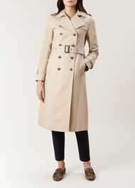 Long Karla Trench Coat, Clay, hi-res