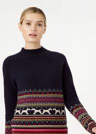 Hollie Merino Wool Blend Sweater, Navy Multi, hi-res