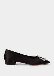 Lucinda Suede Flat Shoes, Black, hi-res