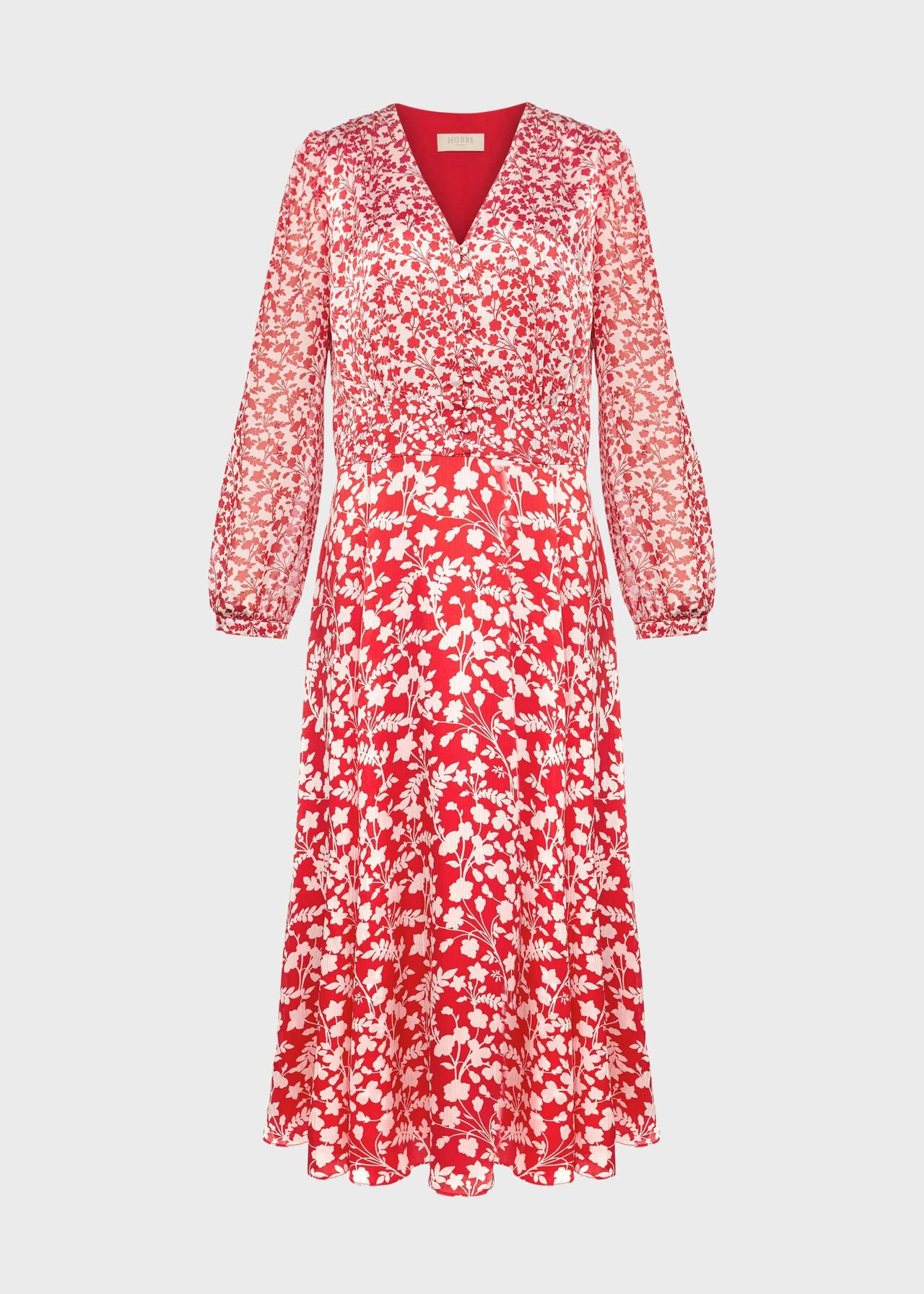 Rosie Floral V Neck Dress Rasp Red Ivory