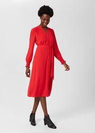 Violet V Neck Dress, Crimson Red, hi-res
