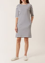 Mariner Dress, Ivory Navy, hi-res
