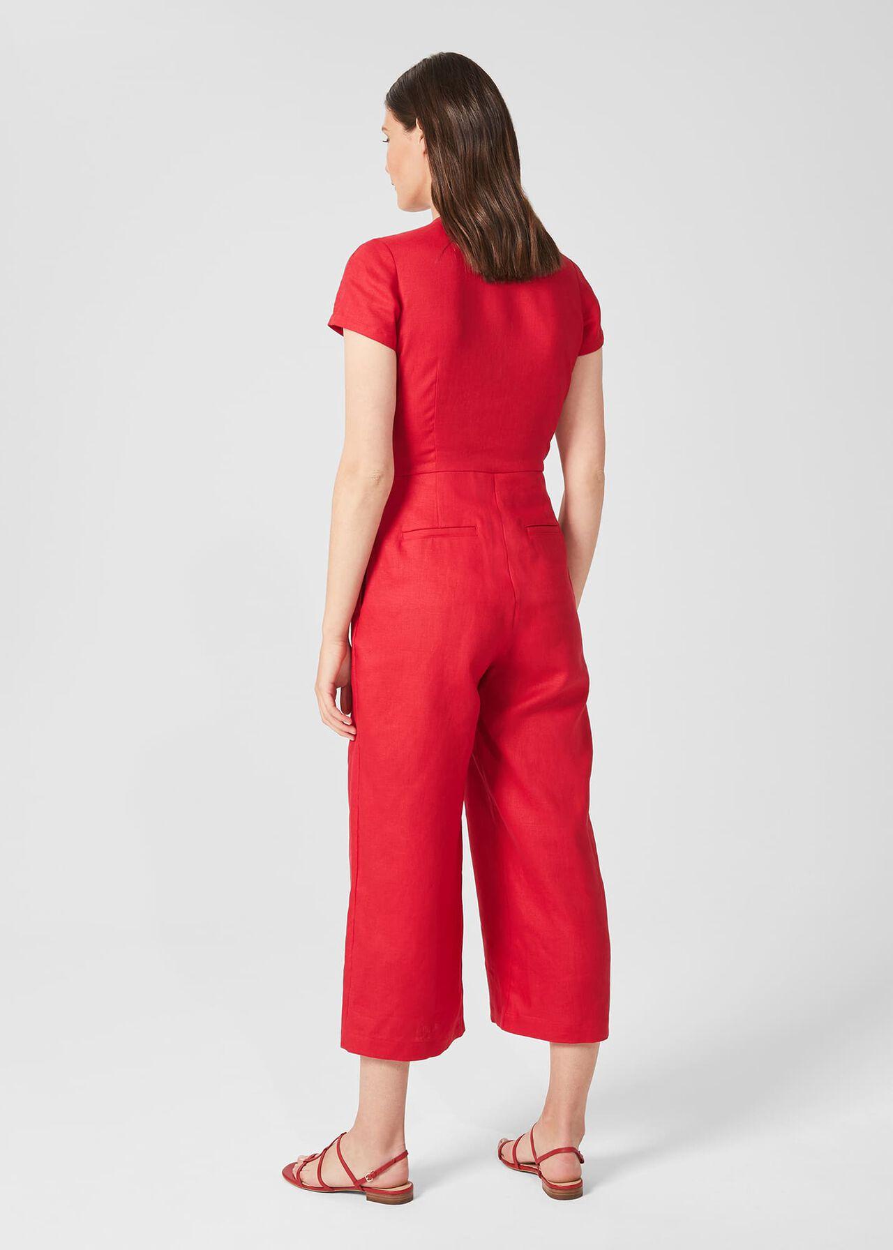 Jayne Linen Cropped Jumpsuit, Raspberry, hi-res