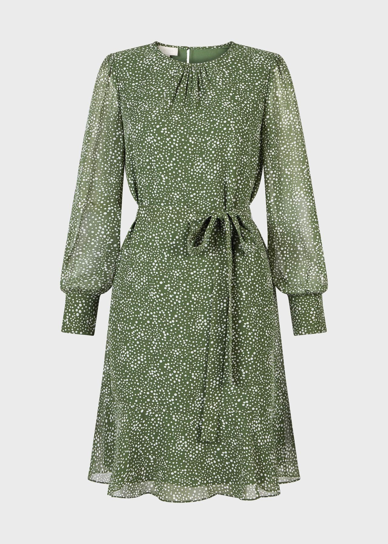Frances Spot Belted Dress Fern Green