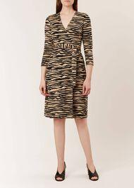 Delilah Wrap Dress, Camel Black, hi-res