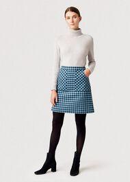 Elodie Wool Skirt, Kingfisher Mult, hi-res