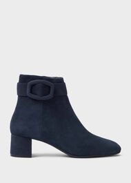 Hailey Suede Block Heel Ankle Boots, Navy, hi-res