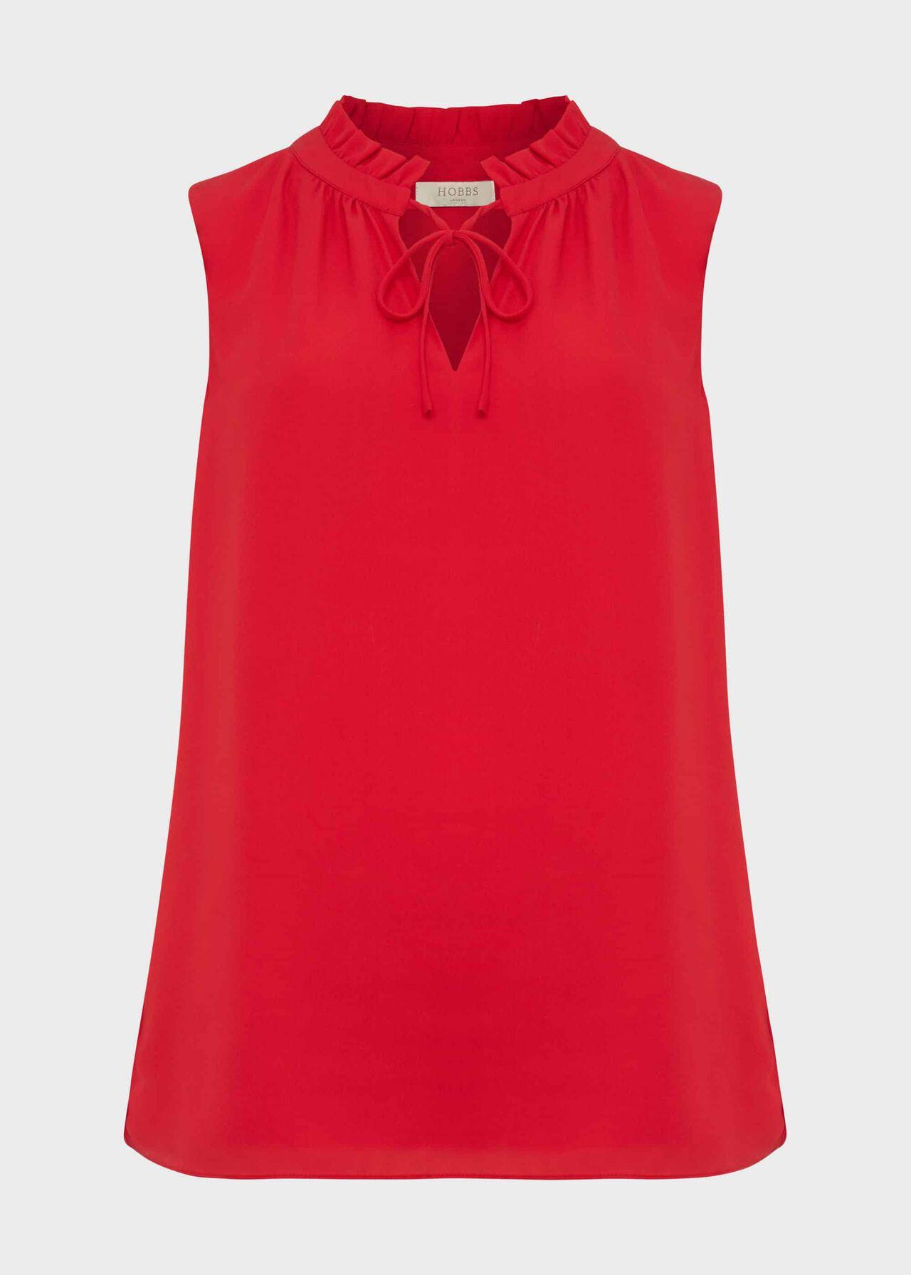 Rosario Tie Neck Blouse, Poppy Red, hi-res