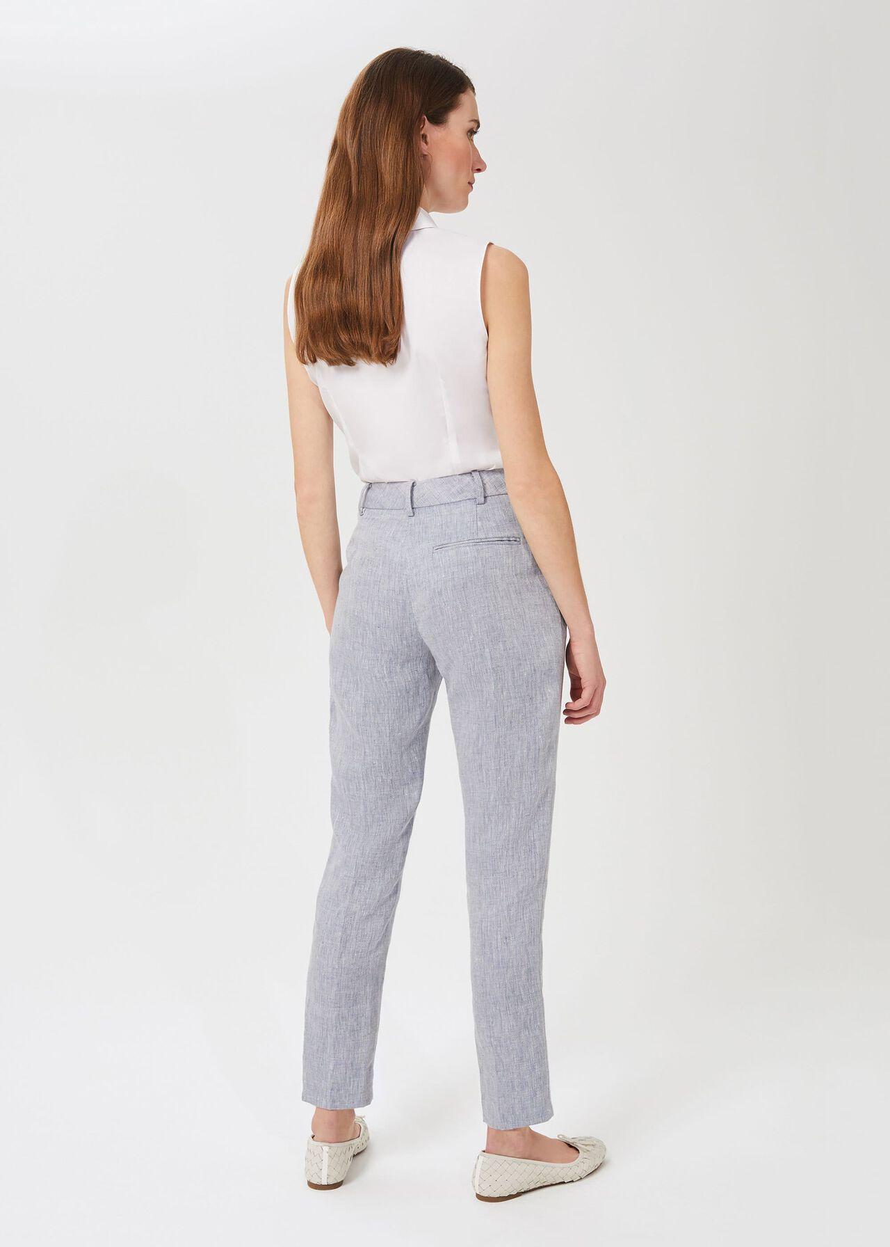 Ivana Linen Tapered Pants, Pale Blue, hi-res