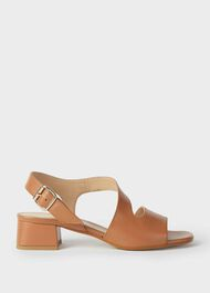 Leather Block Heel Sandals, Toffee, hi-res
