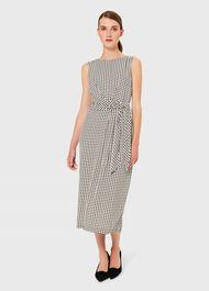 Alana Dogtooth Midi Dress, Buttermilk Blk, hi-res