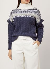 Cleo Wool Blend Sweater, Navy Multi, hi-res