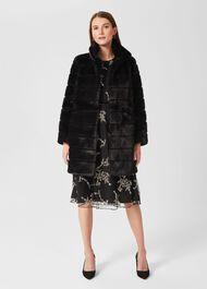 Ros Faux Fur Coat, Black, hi-res