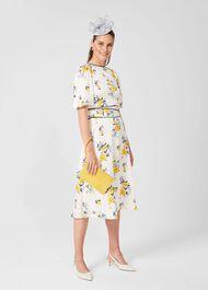 Lana Floral Midi Dress, Ivory Multi, hi-res