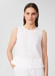 Halle Linen Top, White, hi-res