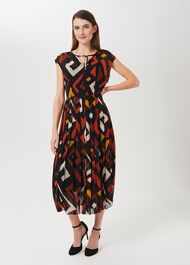 Arianna Printed Midi Dress, Multi, hi-res