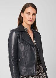 Dakota Leather Jacket, Navy, hi-res