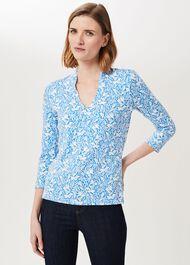 Aimee Printed Top, Azure Blu Ivry, hi-res