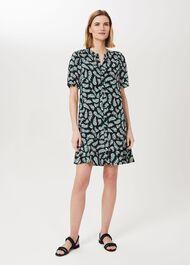 Tabitha Printed Dress, Navy Green Ivry, hi-res