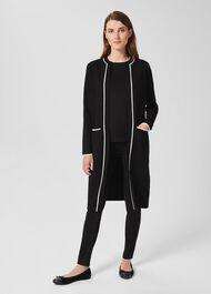 Aria Knitted Coatigan, Black Ivory, hi-res