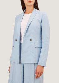 Jade Silk Blend Jacket, Mist Blue, hi-res