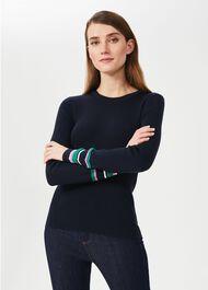 Clare Merino Wool Jumper, Navy Multi, hi-res