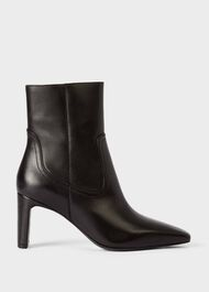 Fiona Leather Stiletto Ankle Boots, Black, hi-res