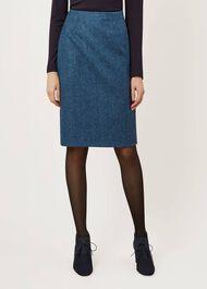 Dalby Wool Skirt, Peacock Navy, hi-res