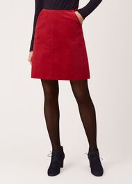 Hannah Corduroy Skirt, Red, hi-res