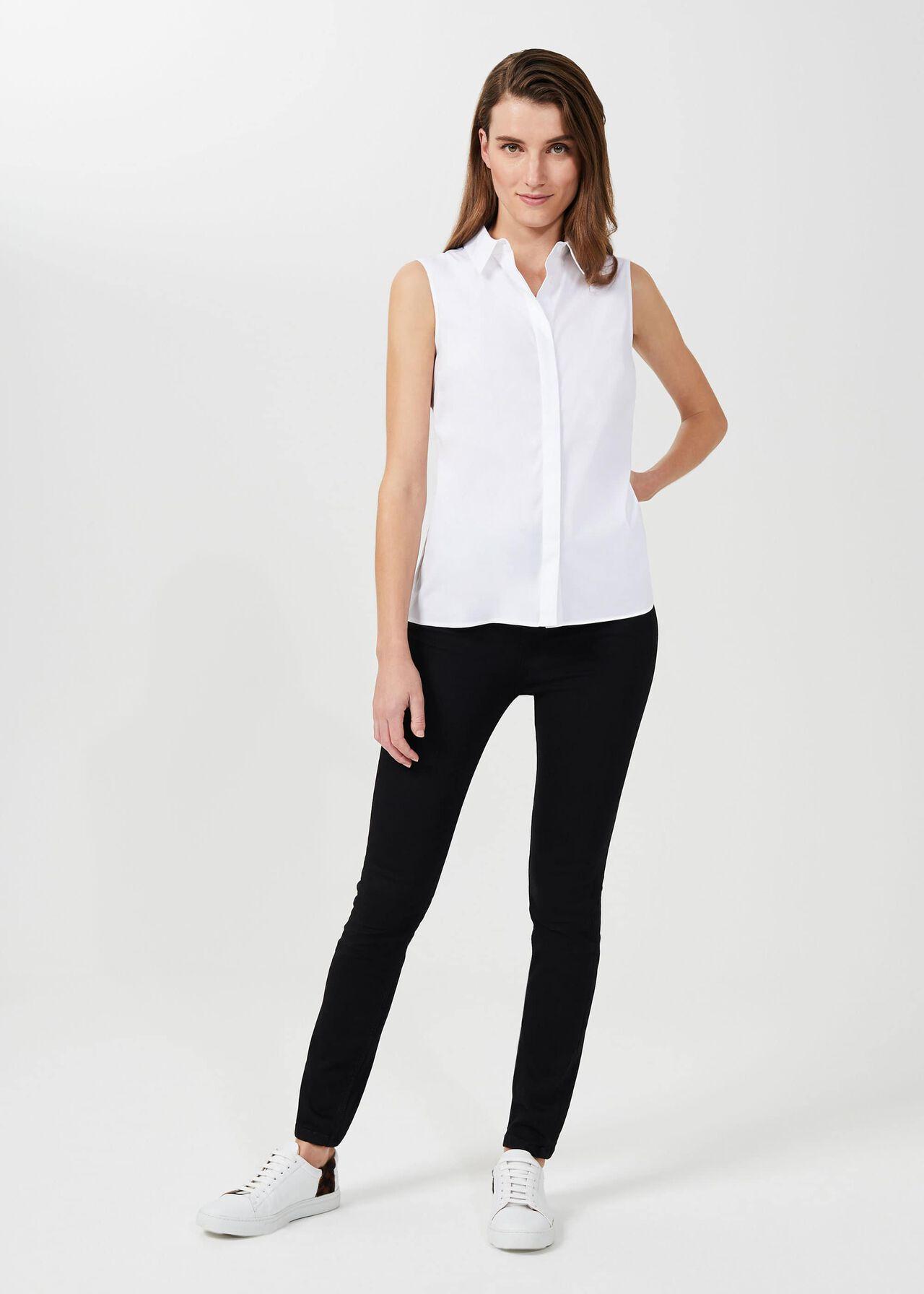 Sleeveless Vic Cotton Blend Shirt, White, hi-res
