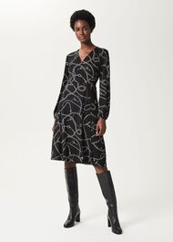 Stephanie Wrap Dress, Black Multi, hi-res