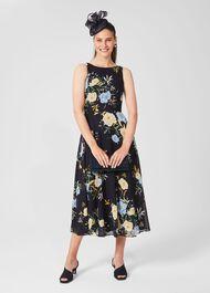 Carly Floral Midi Dress, Navy Yellow, hi-res