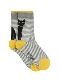 Peeking Cat Sock, Grey Ochre, hi-res
