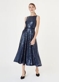 Carly Sequin Dress, Midnight, hi-res