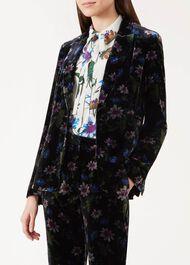 Passionflower Velvet Blazer, Black Multi, hi-res