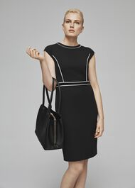 Petite Cordelia Dress, Black Ivory, hi-res