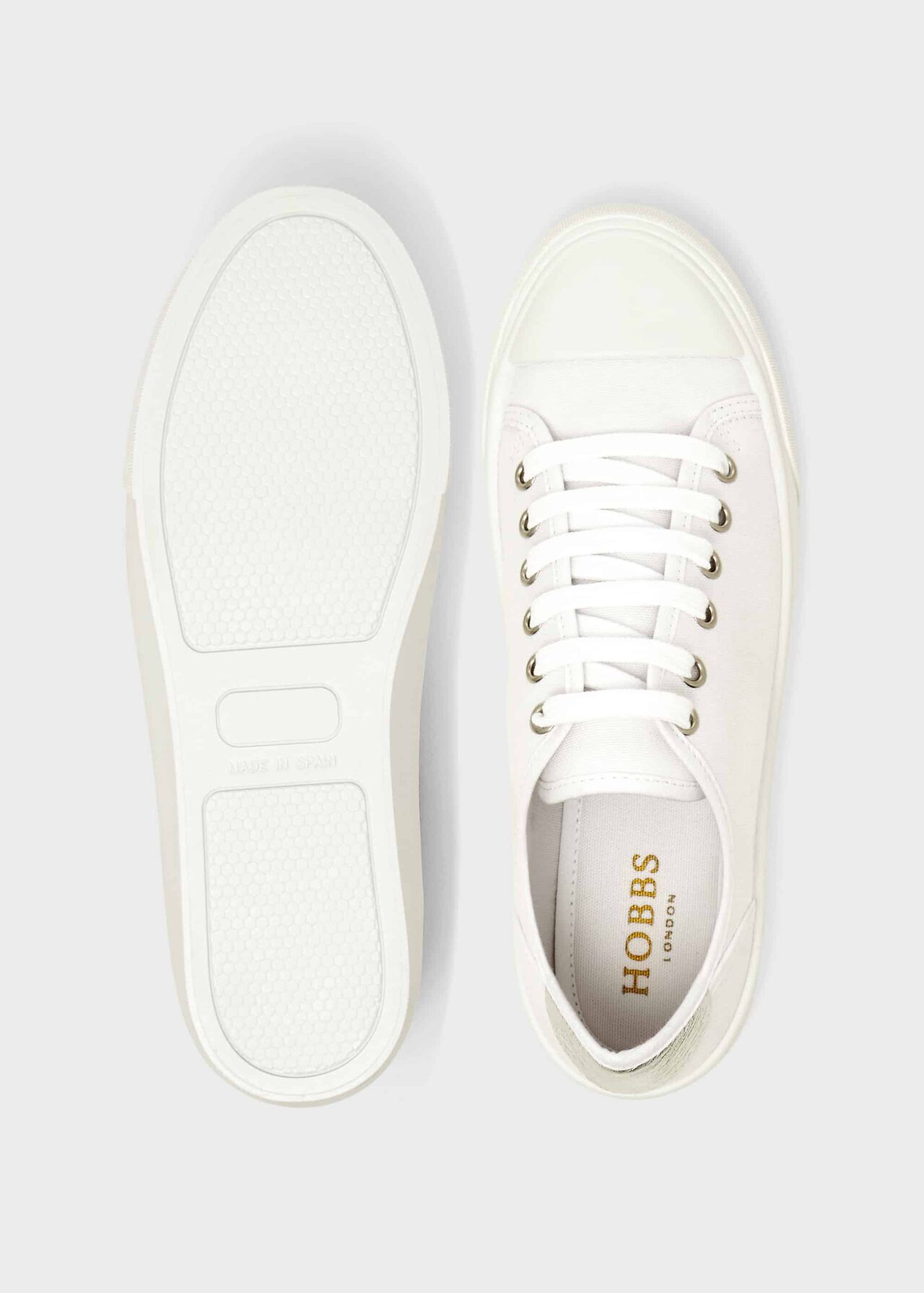Bess Canvas Trainers, White, hi-res