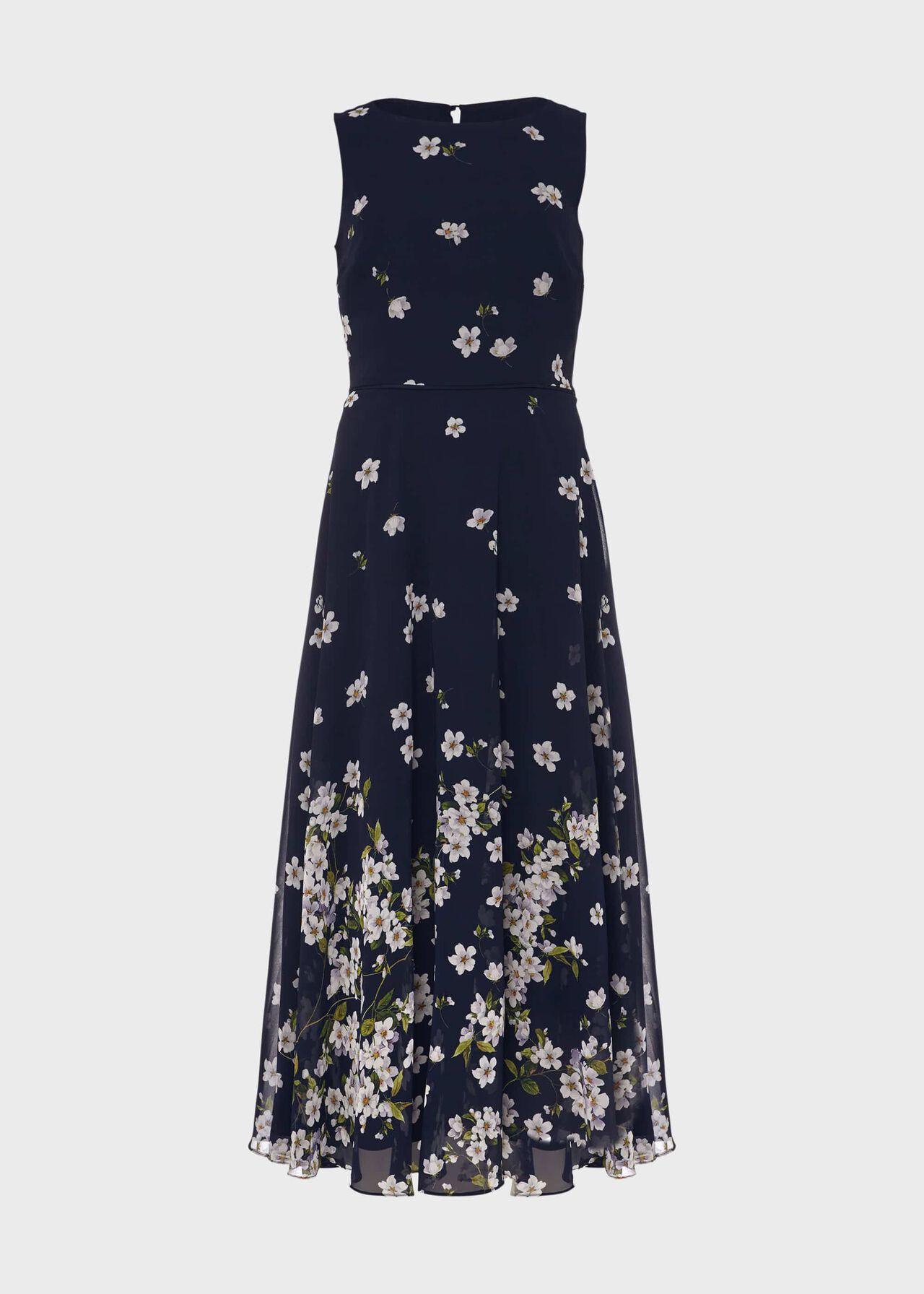 Petite Carly Floral Midi Dress Midnight Ivory