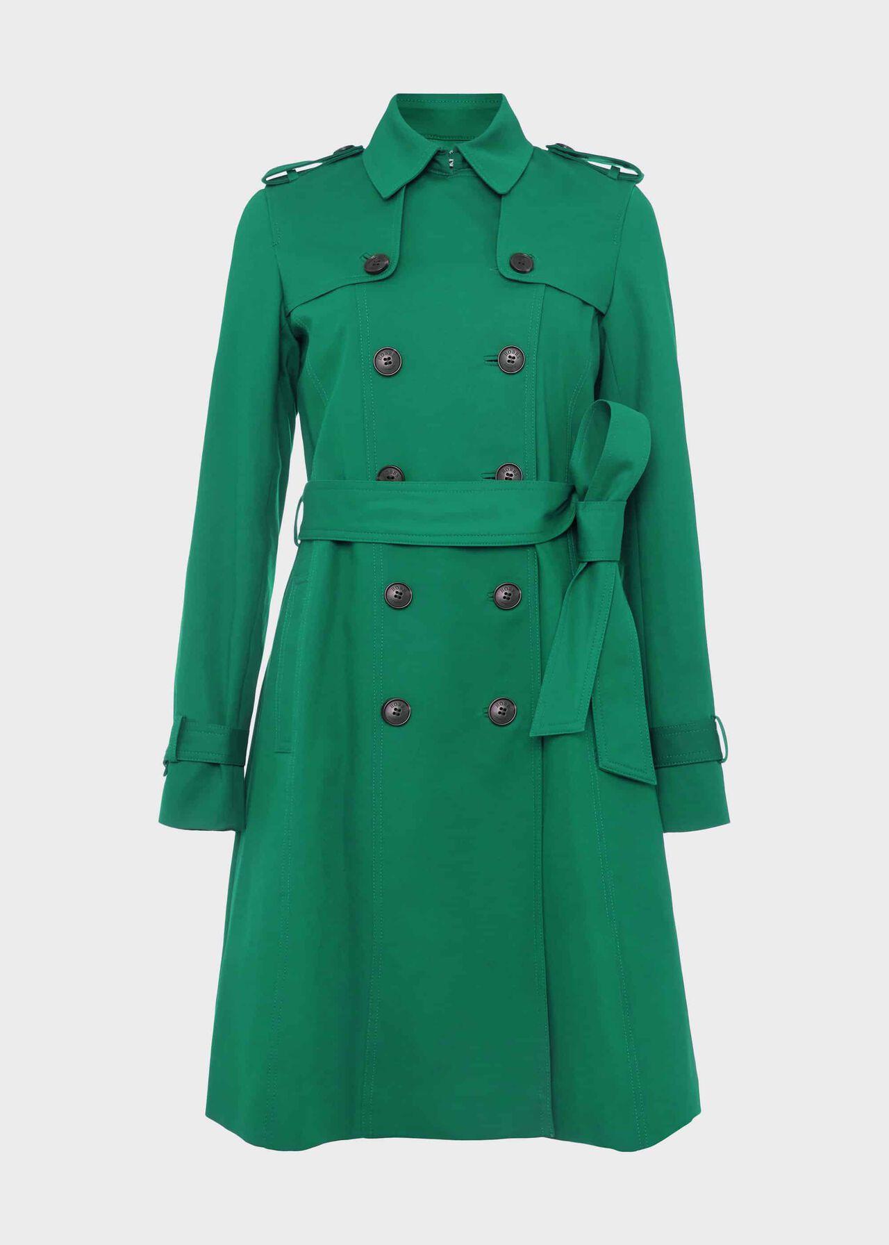 Saskia Water Resistant Trench Coat Green