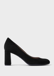 Sonia Suede Block Heel Court Shoes, Black, hi-res
