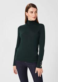 Lara Merino Wool Roll Neck Jumper, Dark Green, hi-res
