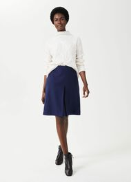 Allegra Wool Cashmere A Line Skirt, Ink, hi-res