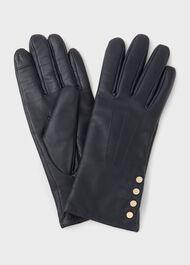 Sienna Leather Glove, Navy, hi-res