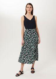 Meera Tiered Skirt, Navy Multi, hi-res