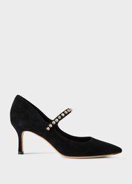 Harper Suede Stiletto Court Shoes, Black, hi-res