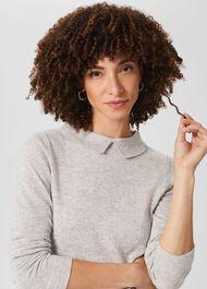 Priya Wool Cashmere Jumper, Pale Grey Marl, hi-res