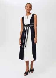 Rae Colourblock Fit And Flare Dress, Navy Ivory, hi-res