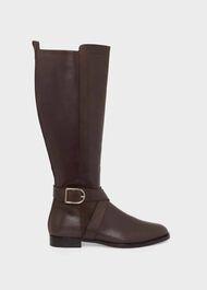 Lisette Leather Knee Boot, Dark Brown, hi-res