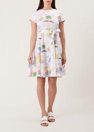 Sorrento Linen Dress, White Multi, hi-res